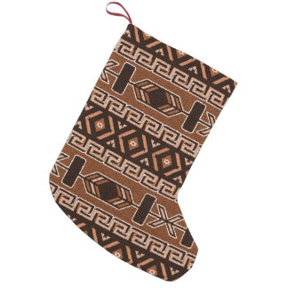 Tribal Aztec Pattern Southwest Christmas Brown Small Christmas Stocking