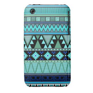 Tribal Aztec patterns blue/mint/green iPhone 3 Case