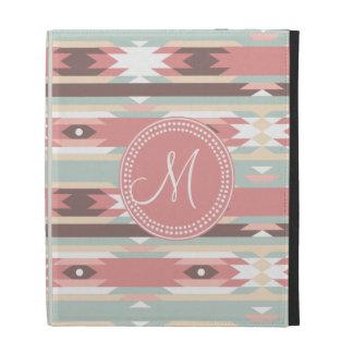 Tribal Aztec Pink Monogram Pattern iPad Folio Cases