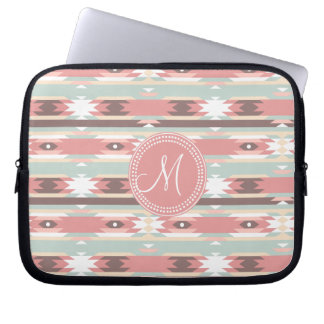 Tribal Aztec Pink Monogram Pattern Laptop Sleeve