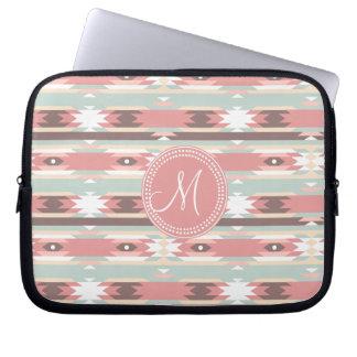 Tribal Aztec Pink Monogram Pattern Laptop Computer Sleeve