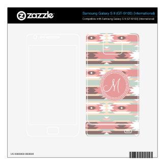 Tribal Aztec Pink Monogram Pattern Samsung Galaxy S II Decal
