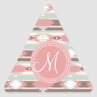 Tribal Aztec Pink Monogram Pattern Triangle Stickers