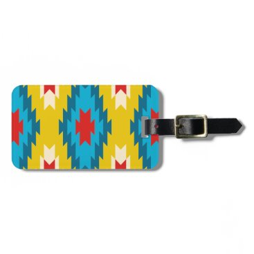 Aztec Themed tribal Aztec Yellow Red Blue Luggage Tag