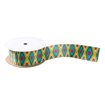 Aztec Themed tribal Aztec Yellow Red Blue Satin Ribbon