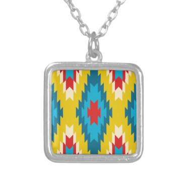 Aztec Themed tribal Aztec Yellow Red Blue Silver Plated Necklace