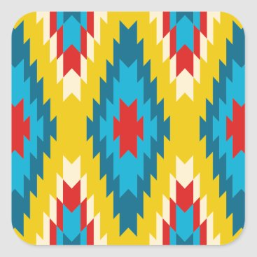 Aztec Themed tribal Aztec Yellow Red Blue Square Sticker