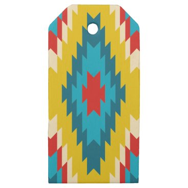 Aztec Themed tribal Aztec Yellow Red Blue Wooden Gift Tags