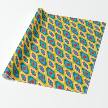 Aztec Themed tribal Aztec Yellow Red Blue Wrapping Paper