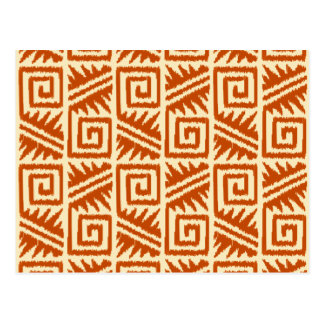 Tribal azteca de Ikat - mandarín y anaranjado Tarjetas Postales