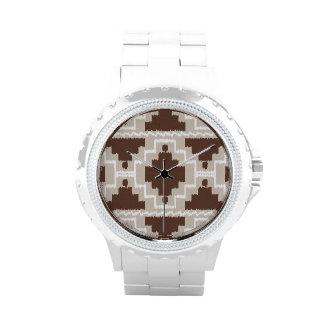 Tribal azteca de Ikat - marrón y de color topo Reloj De Mano