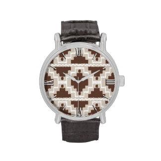 Tribal azteca de Ikat - marrón y de color topo Relojes De Pulsera