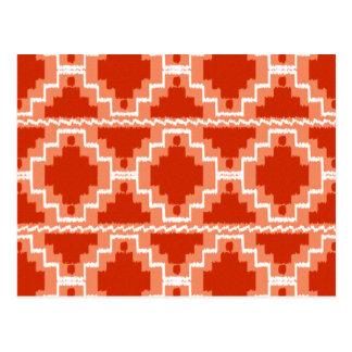 Tribal azteca de Ikat - moho, naranja y blanco Tarjeta Postal