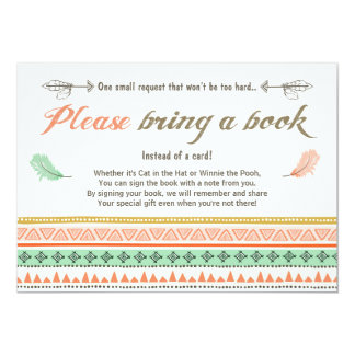 Tribal Baby Shower Bring a Book Card Aztec Tribal
