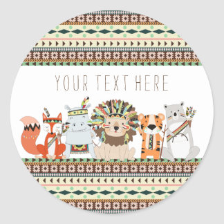 Tribal Baby Shower Classic Round Sticker