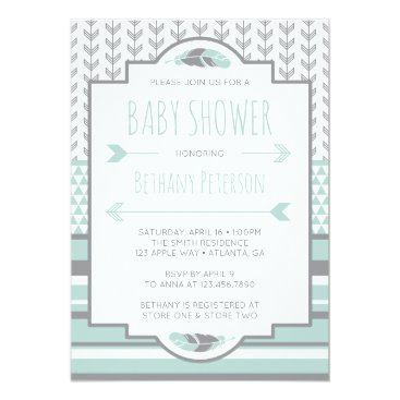Aztec Themed Tribal Baby Shower Invitation, Aztec, Arrows, BOHO Card
