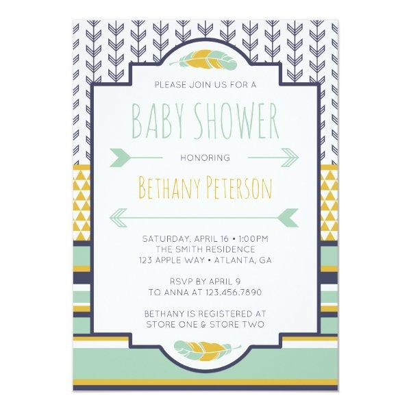 Tribal Baby Shower Invitation, Aztec, Arrows, BOHO Card