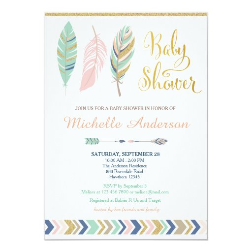 Tribal Baby Shower Invitation / Boho Baby Shower