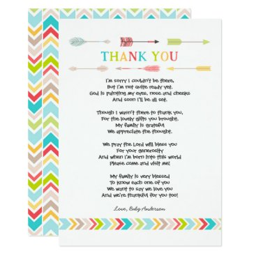 Aztec Themed Tribal Baby Shower PoemThank you note, neutral Card