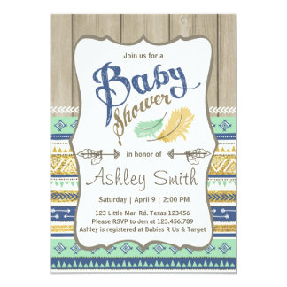Tribal Baby Shower Rustic Baby Shower Blue Gold Card