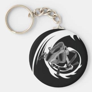 Tribal Ballet on black Basic Round Button Keychain