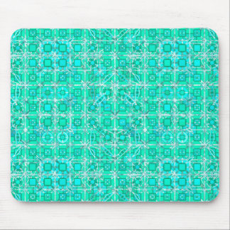 Tribal Batik - aqua and turquoise with white Mouse Pad