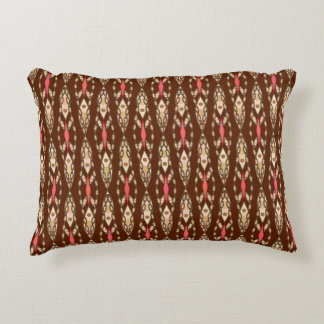 Tribal Batik - Brown, Tan and Coral Accent Pillow