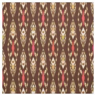 Tribal Batik - Brown, Tan and Coral Fabric