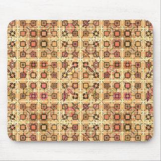 Tribal Batik - chocolate brown and camel tan Mouse Pads