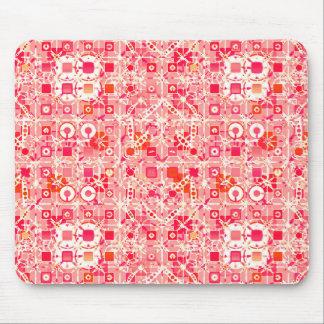Tribal Batik - coral pink, coral orange and cream Mouse Pad