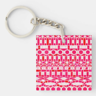 Tribal Batik - Deep red, maroon and white Keychain