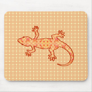 Tribal batik Gecko - coral and light orange Mousepad