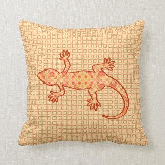 Tribal batik Gecko - coral and light orange Throw Pillows