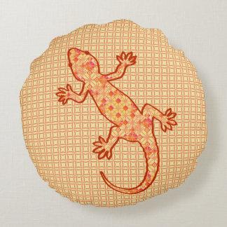 Tribal batik Gecko - coral and light orange Round Pillow