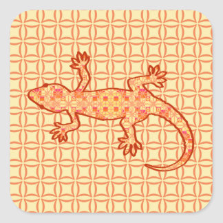 Tribal batik Gecko - coral and light orange Stickers