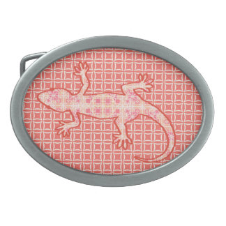 Tribal batik Gecko - coral pink and cream Oval Belt Buckle