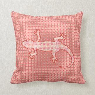 Tribal batik Gecko - coral pink and cream Pillows