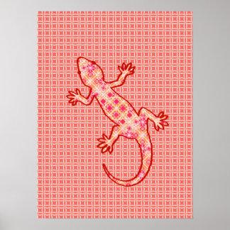 Tribal batik Gecko - coral pink and cream Poster