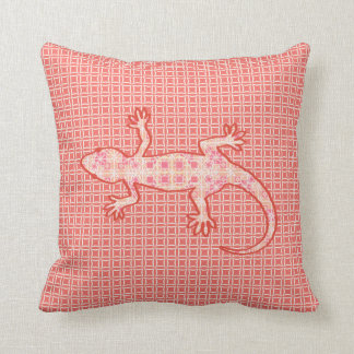 Tribal batik Gecko - coral pink and cream Throw Pillow