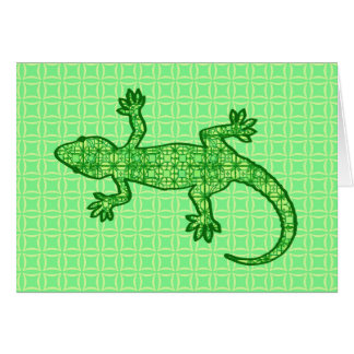 Tribal batik Gecko - lime and emerald green Stationery Note Card
