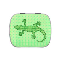 Tribal batik Gecko - lime and emerald green Jelly Belly Candy Tin