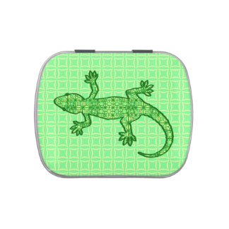 Tribal batik Gecko - lime and emerald green Jelly Belly Candy Tins