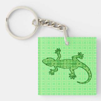 Tribal batik Gecko - lime and emerald green Acrylic Key Chain