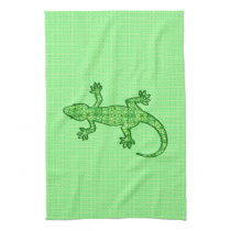 Tribal batik Gecko - lime and emerald green Kitchen Towel