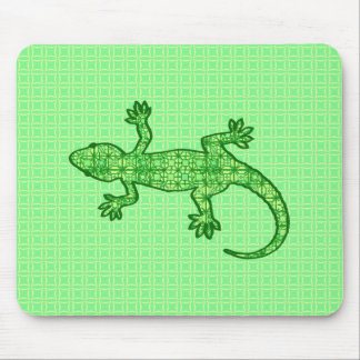 Tribal batik Gecko - lime and emerald green Mouse Pads