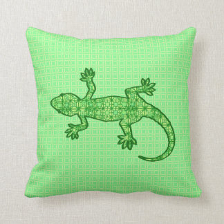 Tribal batik Gecko - lime and emerald green Throw Pillow