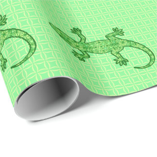 Tribal batik Gecko - lime and emerald green Wrapping Paper
