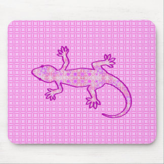Tribal batik Gecko - orchid and shell pink Mousepads