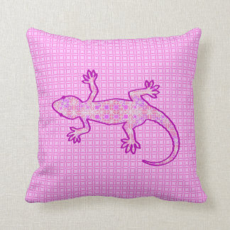 Tribal batik Gecko - orchid and shell pink Pillow