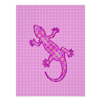 Tribal batik Gecko - orchid and shell pink Poster